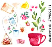 tea painted with watercolors on ... | Shutterstock .eps vector #279802541