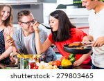 friends cooking spaghetti and... | Shutterstock . vector #279803465