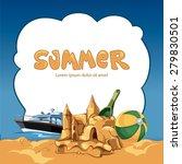 frame with sand castle ... | Shutterstock .eps vector #279830501