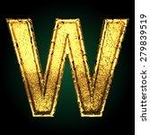 w vector golden letter   Shutterstock .eps vector #279839519