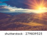 Stock photo beautiful landscape in the mountains at sunshine filtered image cross processed vintage effect 279839525