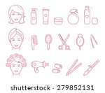 vector woman hair care outlined ...   Shutterstock .eps vector #279852131