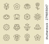 flowers line icon set | Shutterstock .eps vector #279855047