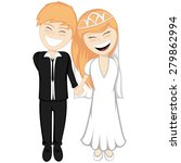 happy newlyweds smiling   a... | Shutterstock .eps vector #279862994