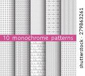 10 monochrome seamless patterns ... | Shutterstock .eps vector #279863261