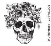 human skull and flower wreath.... | Shutterstock .eps vector #279901001