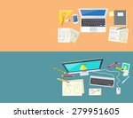 designer office workspace with... | Shutterstock . vector #279951605