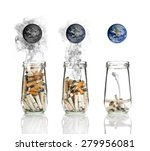 cigarette butt in bottle with... | Shutterstock . vector #279956081