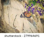 Vintage butterfly. retro style photo of butterfly on flower