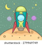 rocket landing on the planet... | Shutterstock .eps vector #279969749