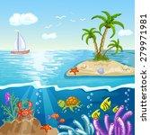 summer postcard with island | Shutterstock . vector #279971981