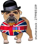 English Bulldog And British Flag