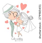 bride and groom. cute vector... | Shutterstock .eps vector #279985451