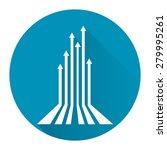 blue circle rising arrow long... | Shutterstock . vector #279995261