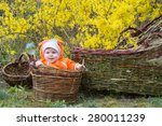 infant baby in basket flowering ... | Shutterstock . vector #280011239