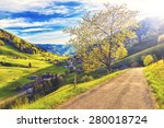 scenic panorama with sunset in... | Shutterstock . vector #280018724