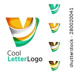 set of abstract letter v... | Shutterstock .eps vector #280020041