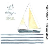 watercolor boat with sails made ... | Shutterstock .eps vector #280020557