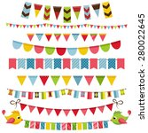 flags  bunting and garland set | Shutterstock .eps vector #280022645