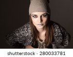 attractive female in hat and... | Shutterstock . vector #280033781