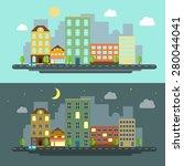 urban landscape flat style... | Shutterstock .eps vector #280044041