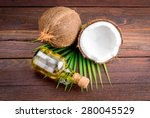 coconut and coconut oil on... | Shutterstock . vector #280045529