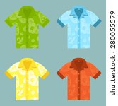 flat icons of four aloha shirts.... | Shutterstock .eps vector #280055579