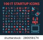 100 startup icons set  vector | Shutterstock .eps vector #280058174