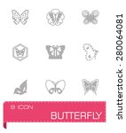 vector butterfly icon set on... | Shutterstock .eps vector #280064081