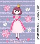 cute princess on the flower... | Shutterstock .eps vector #280074104