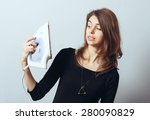 girl with iron in his hand | Shutterstock . vector #280090829