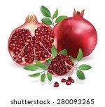 pomegranate isolated on white... | Shutterstock .eps vector #280093265