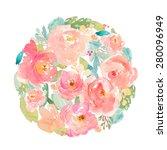 Watercolor Flower Circle Design
