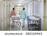 nurses pushing a mobile bed in... | Shutterstock . vector #280104965