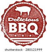 Delicious BBQ Menu Stamp - stock vector