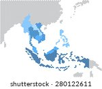 Hexagon Shape South East Asia...