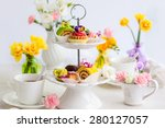 assorted cakes and pastries on... | Shutterstock . vector #280127057