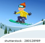 snowboarder jumping | Shutterstock .eps vector #280128989