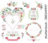 floral heart shape invitation | Shutterstock .eps vector #280144997