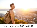 smiling young man standing on a ... | Shutterstock . vector #280148657