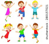 children  boy and girl active... | Shutterstock .eps vector #280157021
