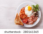 Fried Egg With Bacon  Beans An...