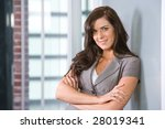 business woman arms crossed in... | Shutterstock . vector #28019341