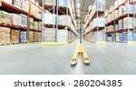 manual forklift pallet stacker...   Shutterstock . vector #280204385