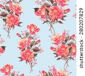summer seamless watercolor... | Shutterstock .eps vector #280207829