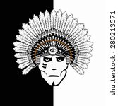 american indian on black and... | Shutterstock . vector #280213571