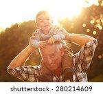 grandfather carrying grandson... | Shutterstock . vector #280214609
