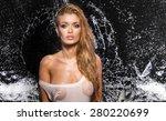 sexy blonde woman posing wet... | Shutterstock . vector #280220699