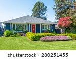 cozy blue house with beautiful... | Shutterstock . vector #280251455