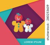 gingerbread man flat icon with...